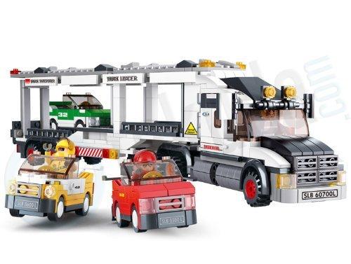 Sluban Sluban New City Town Series M38B0339 Track Transporter and Three Car Building Toy Building Bricks 638 Piece Set parallel import goods