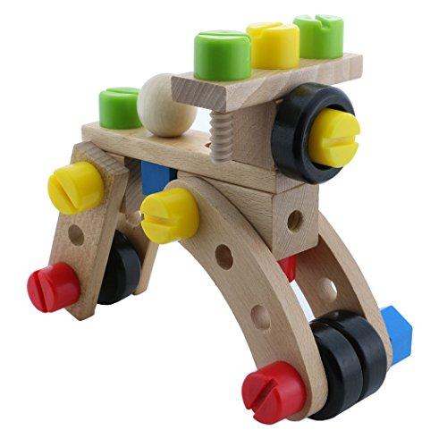 30 pcs Wooden Puzzle Blocks DIY 3D Changeable Nut Car Building Toy for kids