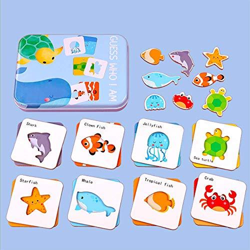 COVAODQ Flash Cards Jigsaw Puzzle Peg Board Set Preschool Educational Montessori Toys for Toddlers Kids Boys Girls Ocean