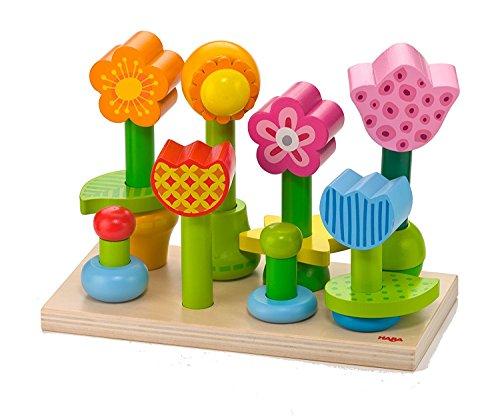 HABA Bonita Garden - 25 Piece Wooden Mix Match Stacking Peg Toy