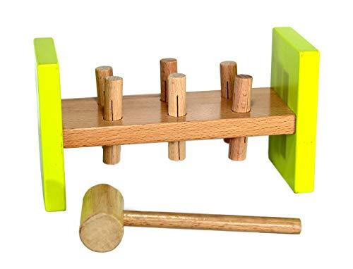 StonKraft Toddler Toys - Wooden Hammer Peg  Wooden Pounding Bench with Hammer  Pound Tap  Motor Skills  Fun Toys  Development Toys