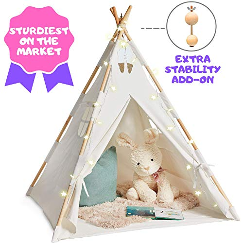 EQOYA Teepee Tent for Kids with Lights - Pure Cotton Kids Tepee Tents Indoor for Boys and Girls Baby and Toddler - Great for Outdoor Play Tee Pee for Children - Sturdy and Comfort Tipi Play-House