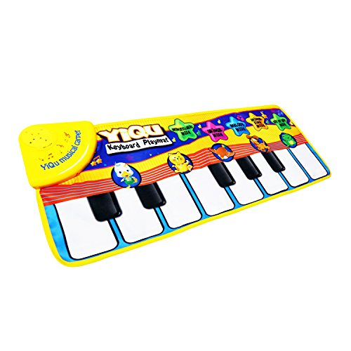 Musical MatSanmersen Baby Early Education Coolplay Music Piano Keyboard Carpet Animal Blanket Touch Play Safety Learn Singing funny Toy for Kids Yellow