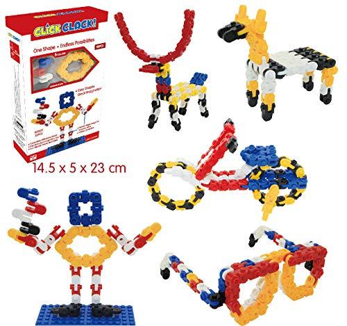 CLICK CLACK Building Bricks Building Blocks Construction 100PCS 5 Colors Imaginative Basic Set Stem Toy for Kids Boys and Girls