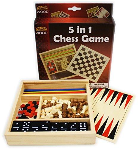 Homeware 5-in-1 Wooden Travel Game Set