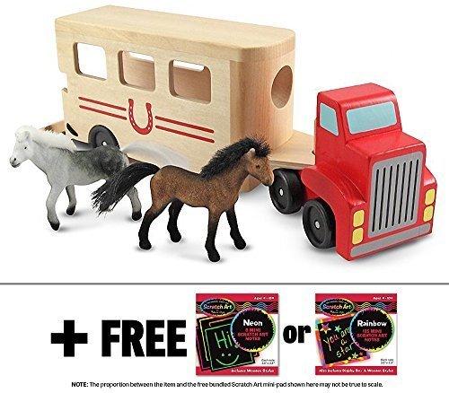 Wooden Horse Carrier Toy  FREE Melissa Doug Scratch Art Mini-Pad Bundle 40976