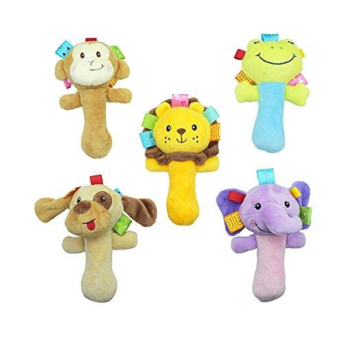 Cartoon Baby Infant Soft Plush Hand Rattles Toys 2PCS Random