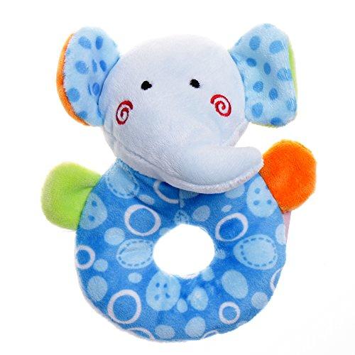 GIFTSHOP101 5 Cute Elephant Soft Plush Baby Rattle Baby Toy - Blue