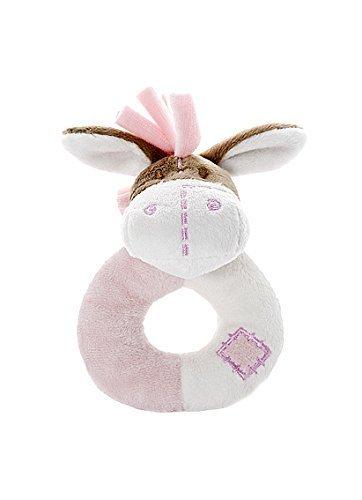 Soft Pink Donkey Stuffed Animal Plush Rattle Toy for Baby Girl