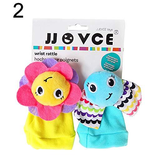 Exquisite Wristwatch Hot Sale 2Pcs Cute Cartoon Flower Elephant Soft Wrist Band Socks Rattle Baby Infant Toy