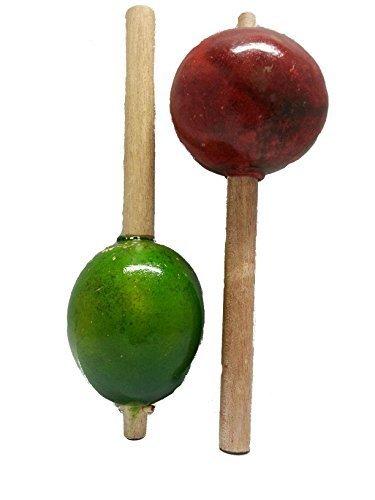 Original Handmade Purim Grogger Bamboo Maracas and Shakers Set of 2 Shapes and Colors Vary