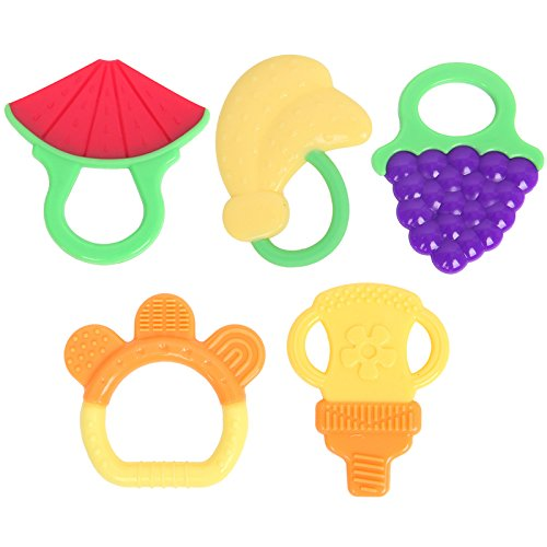 Baby Teething Toys with Pacifier Clip Holder Non-Toxic Fruit Shape Soft and Durable Pack of 5pcs by Delight eShop