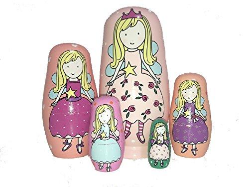 King&Light 5pcs New Flower Fairy Nesting Dolls - Wooden Russian Dolls Matryoshka Stacking Toys by K&L