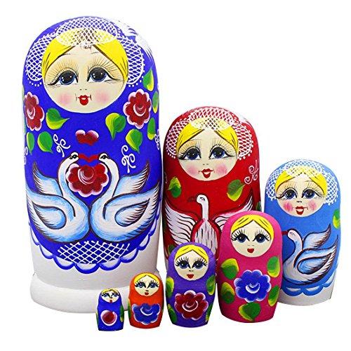 Set of 7 Cute Blonde Girl White Swan Wooden Red Flowers Russian Nesting Dolls Matryoshka Kids Gift Fun Toys Birthday Christmas New Year Gifts Blue