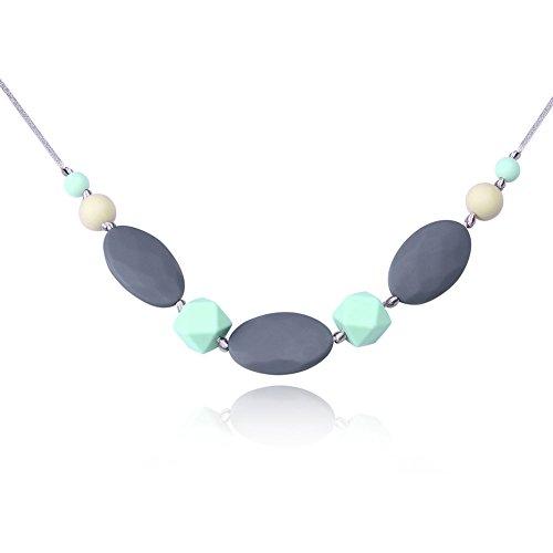 Kalapure Baby Best Teething Toys Silicone Nursing Teething Necklace for Women Mom Wear Grey