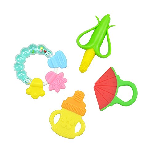 Baby Teething Toy Alotpower Infant Training Toothbrush and Teether for Relieving Gum Pain 4 pack