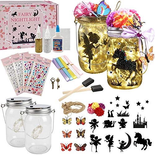 Fairy Lantern Craft Kit for Kids  Night Light  Crafts - Children Toy Set Kits - DIY Make Your Own Fairy Lantern Jar Fairy Lantern 2 Pack