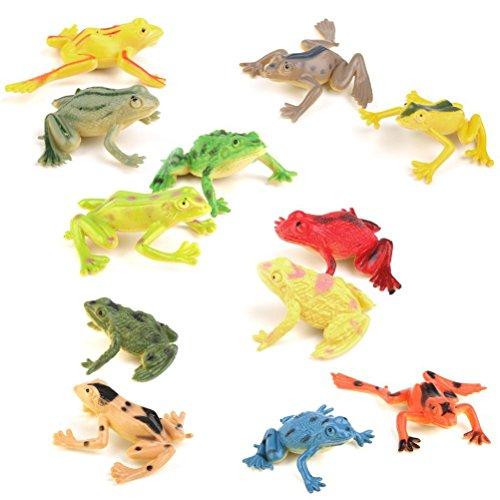 PIXNOR Toy Figure Model Plastic Frog Figures Kids Toy Set - 12 Pieces