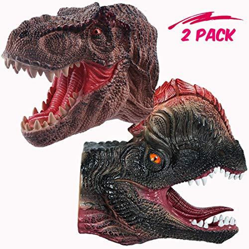 NEWBEGIN TyrannosaurusDouble Crown Dinosaur Hand Puppet Soft Rubber Realistic Spines Dragon Dinosaur Toy Kids Adult2 Pack