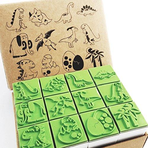 Np Crafts 12 Kids Dinosaur Rubber Stamps Set Animal Rubber Stamp CR024