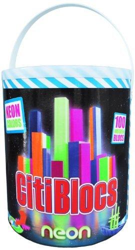 CitiBlocs 100-Piece Neon Colored Building Blocks by CitiBlocs