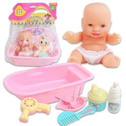 Happy toy Plastic Baby Doll Bath Tub Set 5 W