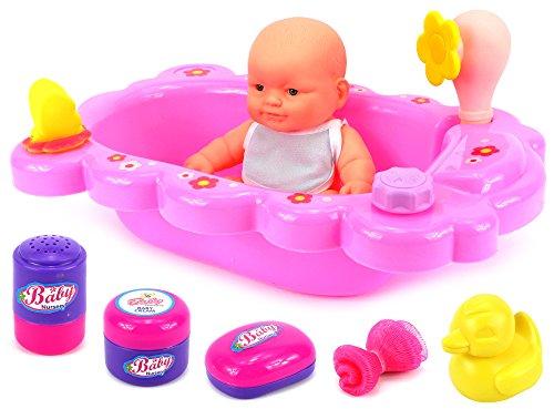 Velocity Toys Mommy Baby Bathtub Time Toy Baby Doll Playset w Baby Doll Bathtub Bath Accessories
