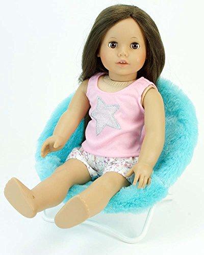 18 Inch Doll Furniture Fuzzy Aqua Papasan Chair Perfect for your 18 Inch American Girl Doll Clothes More Doll Aqua Papasan Chair