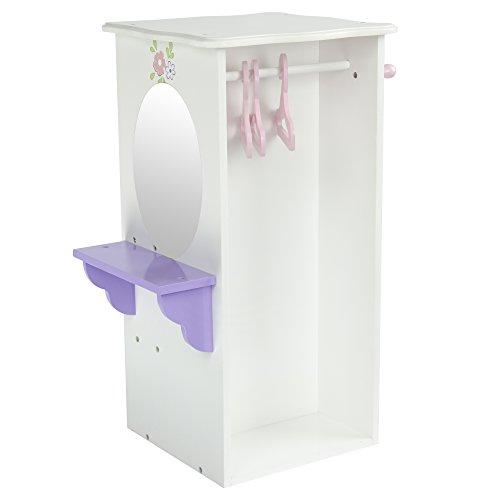 Olivias Little World - Princess Dresser with 3 Hangers White  Wooden 18 inch Doll Furniture