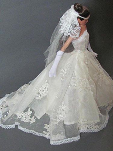 Barbie Doll Dress Off White Wedding Dress with Veil Fit 115 Inch Barbie Dolls No Dolls