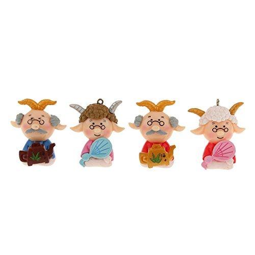 No brand goods four sheep of miniature dollhouse interior of miniature garden for resin bonsai craft garden fairy garden landscape decoration props cartoon