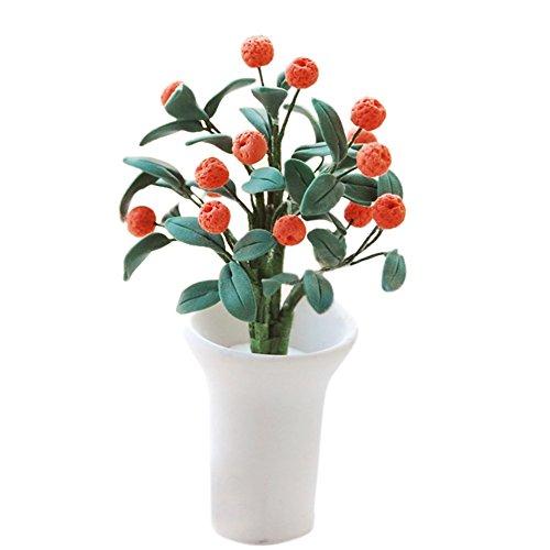 BESTLEE 112 Dollhouse Home Decoration Clay Orange Tree with White Vase