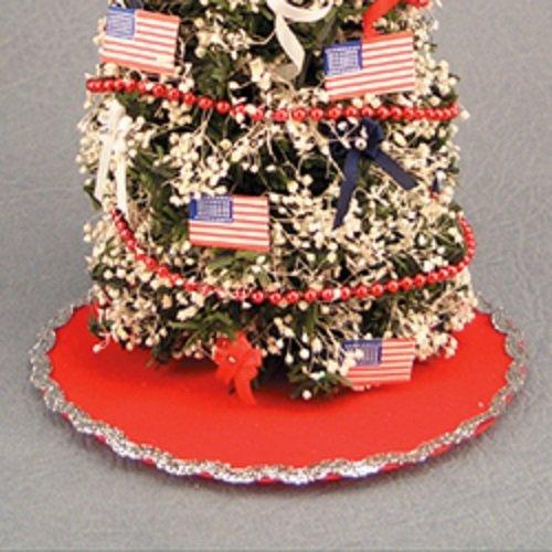 Dollhouse Miniature 112 Scale Christmas Tree Skirt Red VelvetSilver Trim