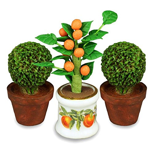Dollhouse Miniatutre Orange Tree Topiary Set