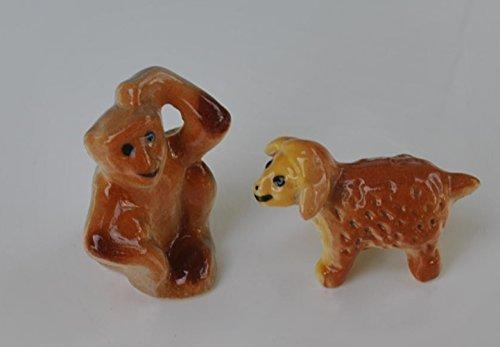 Cute Dollhouse Miniature Figurine Ceramic Monkey Sheep Pack of 2 Animal Display Child Learning Tool