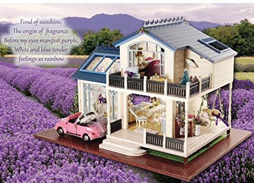 Ploy Miniature Wooden Furniture Dollhouse - Handmade Furniture Accessories Dollhouse DIY KIT Provence Lavender Series Loving Family Cute DollhouseCreative Assembling Toys for Christmas Decor A032D