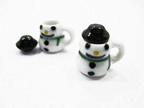 Dollhouse Miniatures 2 Snowman Ceramic Cup Mug Christmas Supply Charms 13695