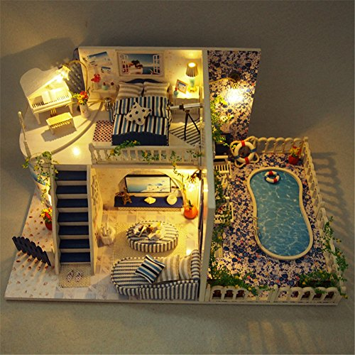 Yiliag Blue Villa Handmade Wooden Miniature House DIY Doll House Kit Gift With LED Light And Cover
