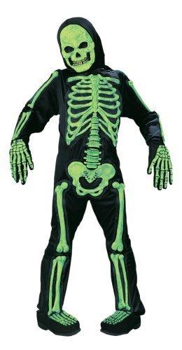 Kids Scary Green Bones Skeleton Boy Halloween Costume Medium 8-10