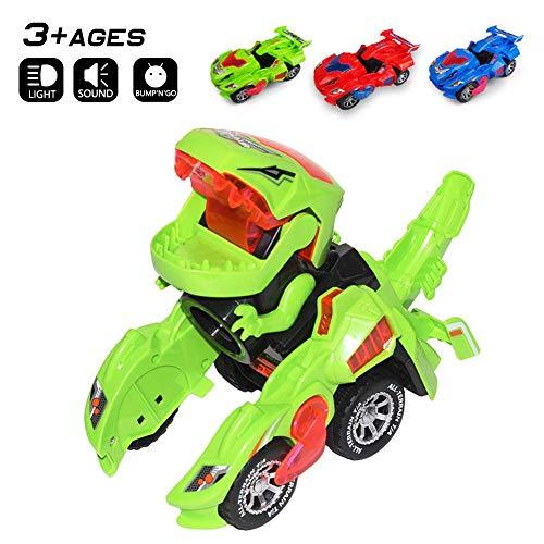 Odizli Transforming Dinosaur LED Car Toys for Kid Boys Halloween Green