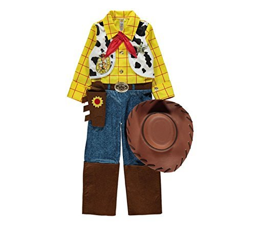 Officially Licensed Disney Pixar Toy Story Woody fancy dress 5-6yrs Boys Cowboy Costume with Hat Necktie Sheriffs Star Made for George Collection by George