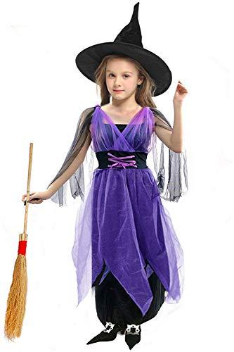 AMENON Halloween Girls Witch Costume Dress Up Dress Medium Purple