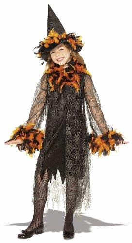 Orange Feathered Girls Witch Costume - Child Large