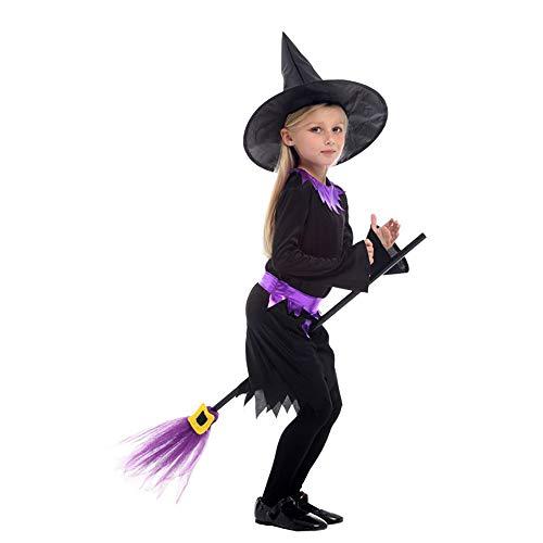 Rnwen Girls Halloween Party Dress Children Halloween Costume Girls Boys Halloween Cosplay Dress Costume 4-12 Years Witch Costume Girls Cosplay Dress Size  M