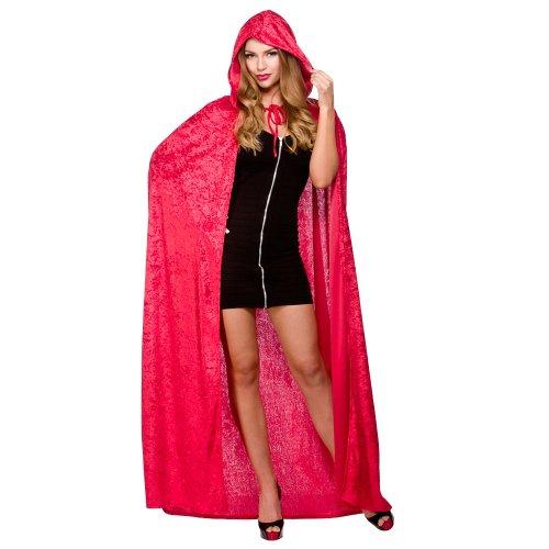 Ladies Deluxe Velvet Hooded Cape Costume for Superhero Villian Hero Cosplay Red