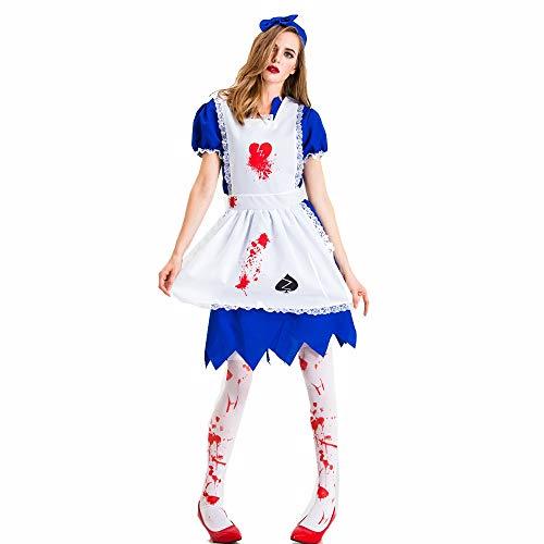 Bishelle-cloth Halloween Lady Dress Halloween Horror Bloody Maid Costume Maid Costume Zombie Demon Zombie Costume Ghost Party Costume Color  Blue Size  XXL
