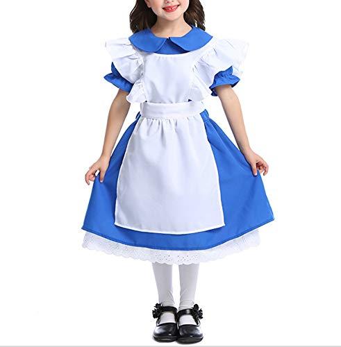 Mitef Dark Blue Girl Costume Halloween Princess Dress Performance Clothing Alice Maid CostumeM