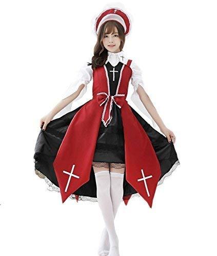 Nun cross Gothic Lolita maid costume set ladies red one size