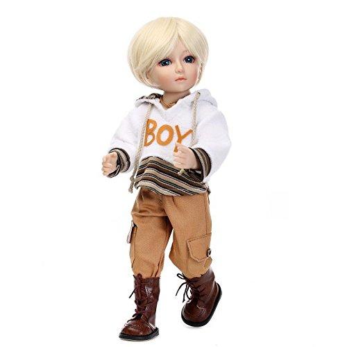 NPKDOLL Lovely Girl Toy Doll High Soft Vinyl 18inch 45cm Lifelike Movable Short Hair White Hoodie A1US