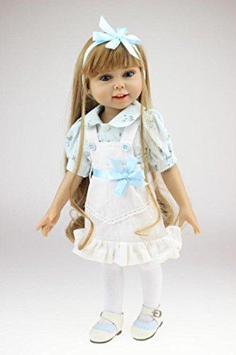 Npkdoll Lovely Girl Toy Doll High Soft Vinyl 18inch 45cm Lifelike Movable Smile Princess White Apron
